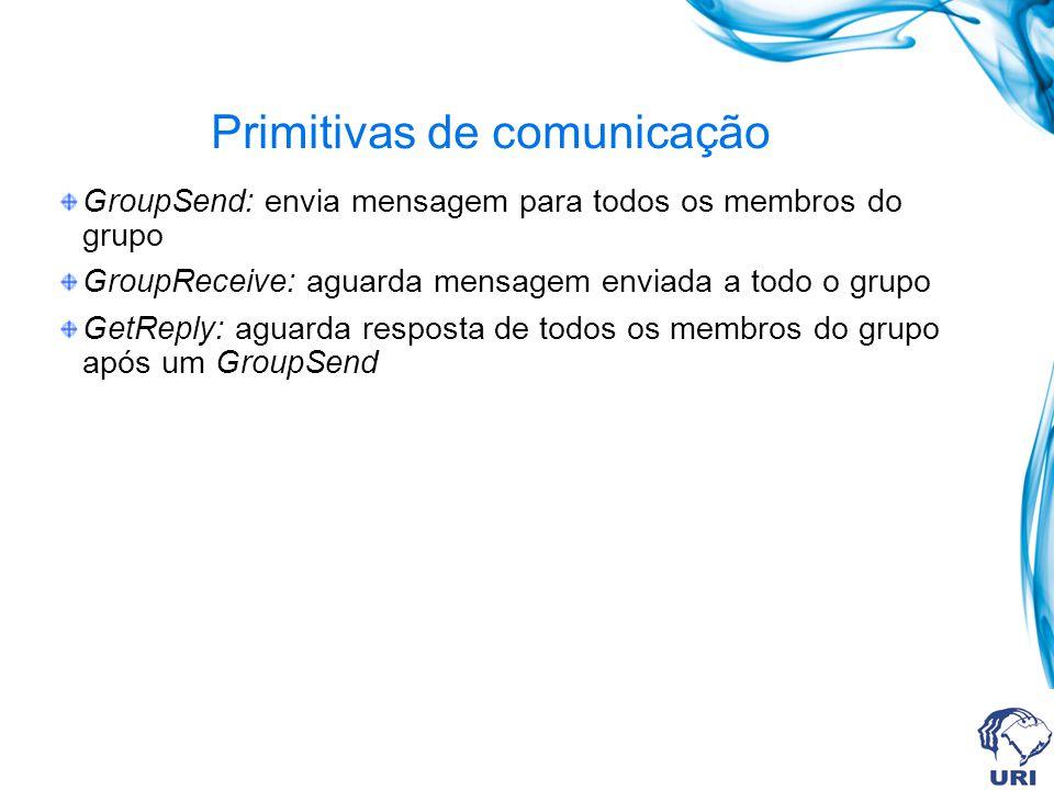 Primitivas de comunicação GroupSend: envia mensagem para todos os membros do grupo GroupReceive: aguarda mensagem enviada a todo o grupo GetReply: aguarda resposta de todos os membros do grupo após um GroupSend