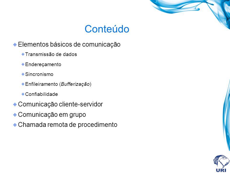 Conteúdo Elementos básicos de comunicação Transmissão de dados Endereçamento Sincronismo Enfileiramento (Bufferização) Confiabilidade Comunicação cliente-servidor Comunicação em grupo Chamada remota de procedimento