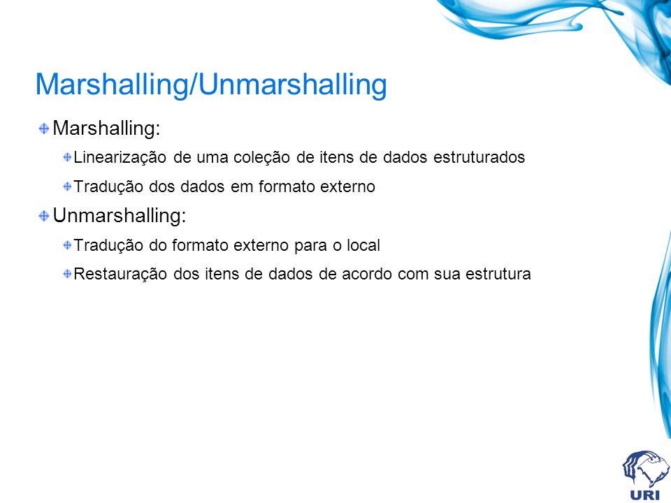Marshalling/Unmarshalling Marshalling: Linearização de uma coleção de itens de dados estruturados Tradução dos dados em formato externo Unmarshalling: Tradução do formato externo para o local Restauração dos itens de dados de acordo com sua estrutura