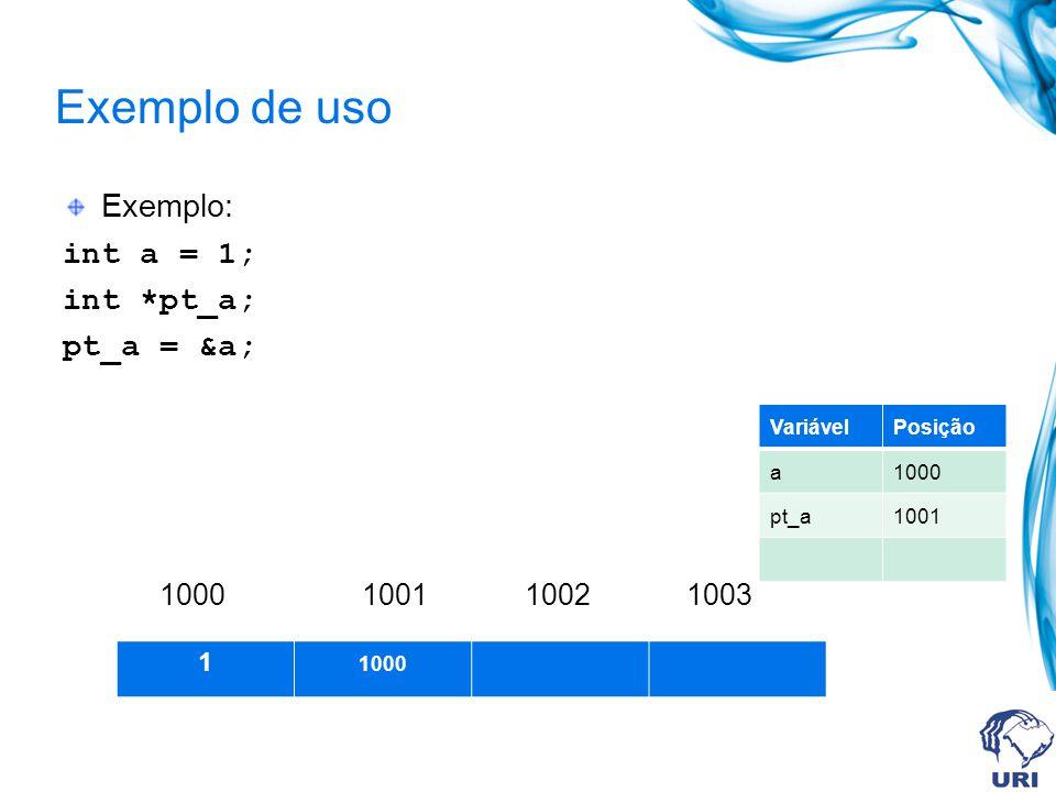 Exemplo de uso Exemplo: int a = 1; int *pt_a; pt_a = &a; 1000 1001 1002 1003 1 1000 VariávelPosição a1000 pt_a1001