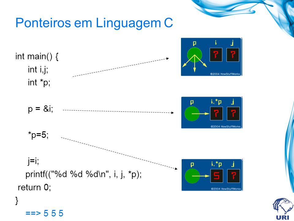 Ponteiros em Linguagem C int main() { int i,j; int *p; p = &i; *p=5; j=i; printf(( %d %d %d\n , i, j, *p); return 0; } ==> 5 5 5