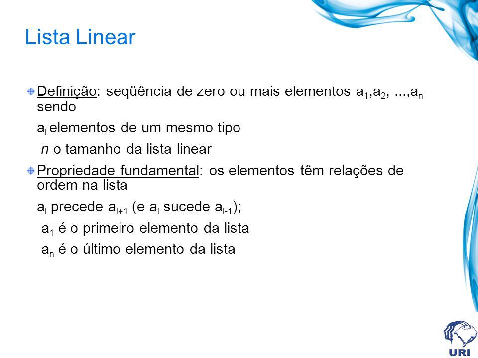 Lista Linear Definição: seqüência de zero ou mais elementos a 1,a 2,...,a n sendo a i elementos de um mesmo tipo n o tamanho da lista linear Propriedade fundamental: os elementos têm relações de ordem na lista a i precede a i+1 (e a i sucede a i-1 ); a 1 é o primeiro elemento da lista a n é o último elemento da lista