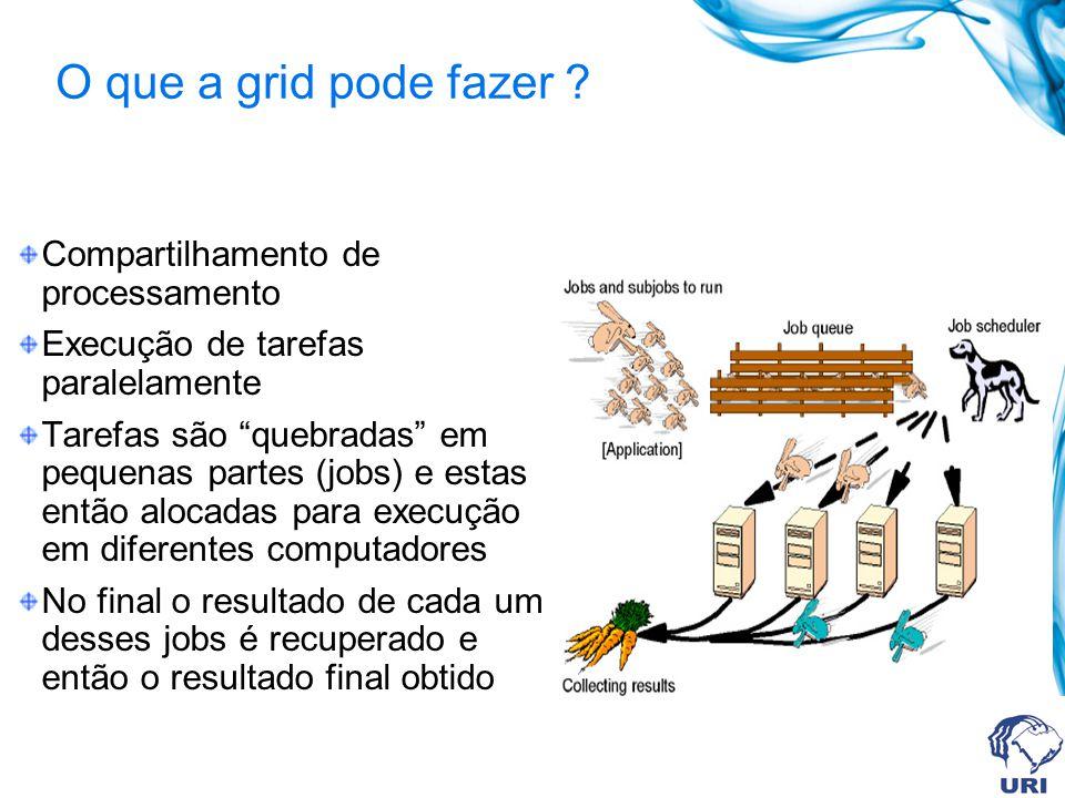 O que a grid pode fazer ? Compartilhamento de processamento Execução de tarefas paralelamente Tarefas são quebradas em pequenas partes (jobs) e estas