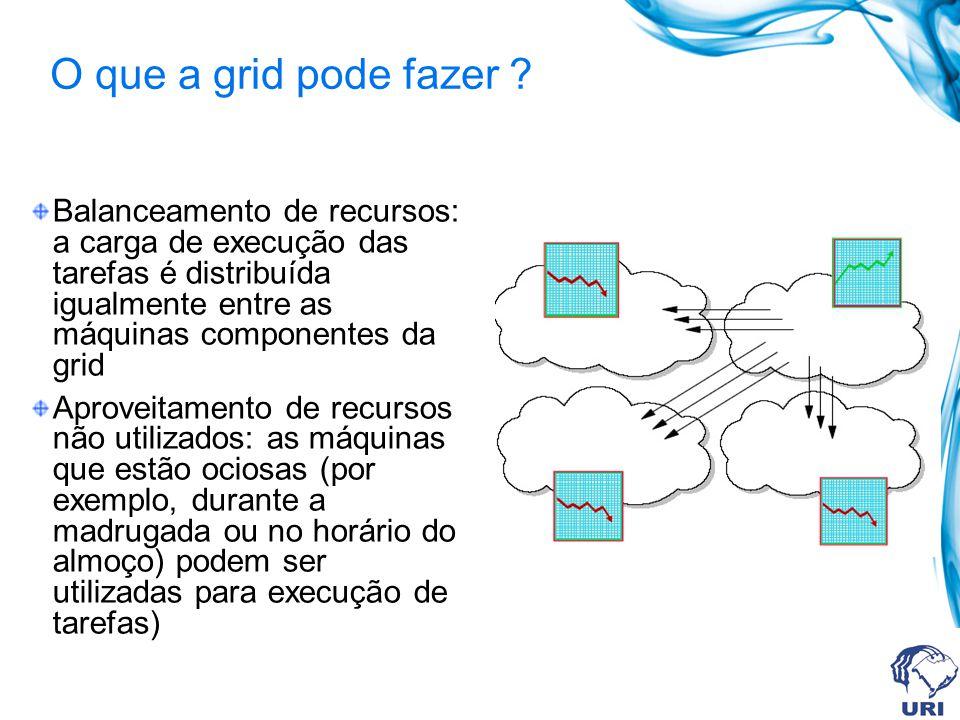 O que a grid pode fazer ? Balanceamento de recursos: a carga de execução das tarefas é distribuída igualmente entre as máquinas componentes da grid Ap