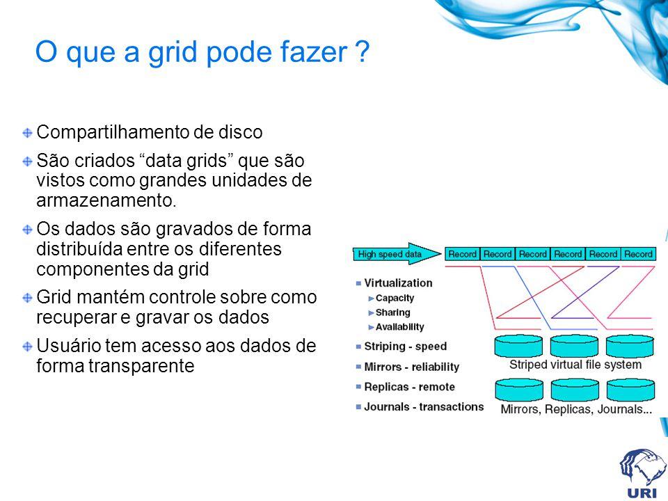 O que a grid pode fazer ? Compartilhamento de disco São criados data grids que são vistos como grandes unidades de armazenamento. Os dados são gravado