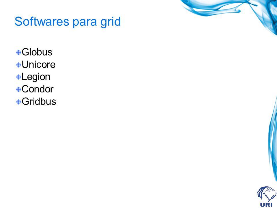 Softwares para grid Globus Unicore Legion Condor Gridbus