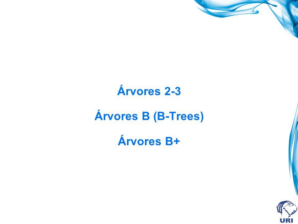 Remoção de Registros Registro 20 Caso 2.2.1: a sub-árvore vizinha NÃO possui registros para emprestar e o irmão possui registros para emprestar Concatena-se o filho à esquerda e à direita do registro excluído; o registro mais à esquerda (ou mais à direita) do irmão é promovido para a raiz e o registro à esquerda (ou à direita) da raiz é inserido na página que teve o registro excluído; o filho à esquerda (ou o filho à direita) do registro que foi emprestado passa a ser o filho à direita (ou à esquerda) do nó para onde ele foi deslocado; 23 28 37 40 6 18 1 3 21 22 30 35 45 50 25 26 4 20 38 39 23 28 37 40 6 18 21 22 1 3 30 35 45 50 25 26 4 38 39