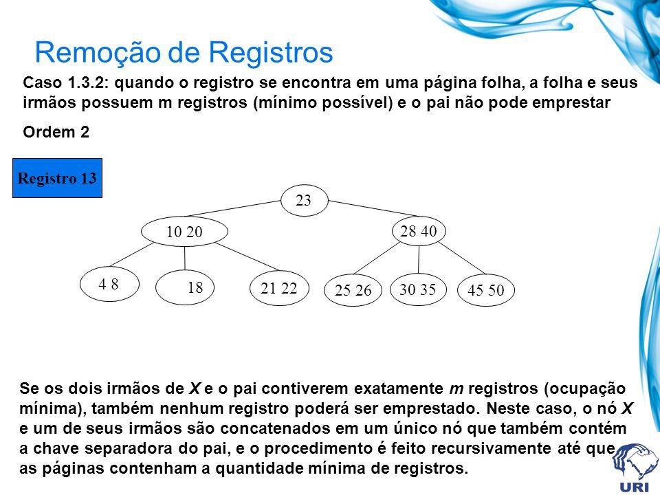 Remoção de Registros Caso 1.3.2: quando o registro se encontra em uma página folha, a folha e seus irmãos possuem m registros (mínimo possível) e o pa