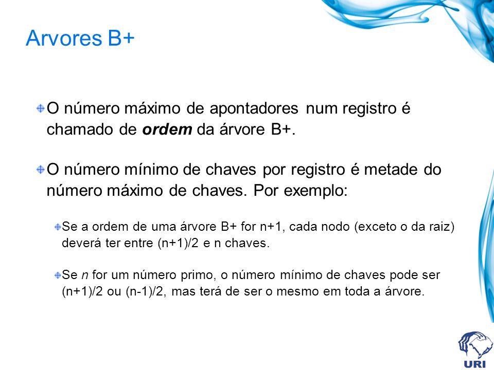 Arvores B+ O número máximo de apontadores num registro é chamado de ordem da árvore B+. O número mínimo de chaves por registro é metade do número máxi
