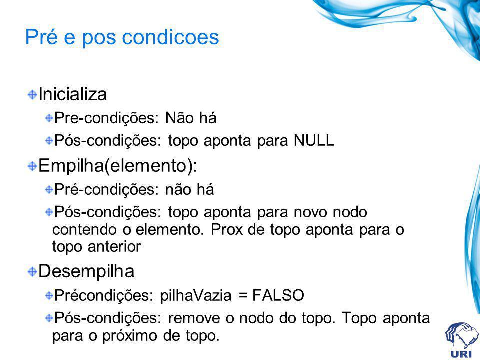 Pré e pos condicoes Inicializa Pre-condições: Não há Pós-condições: topo aponta para NULL Empilha(elemento): Pré-condições: não há Pós-condições: topo aponta para novo nodo contendo o elemento.