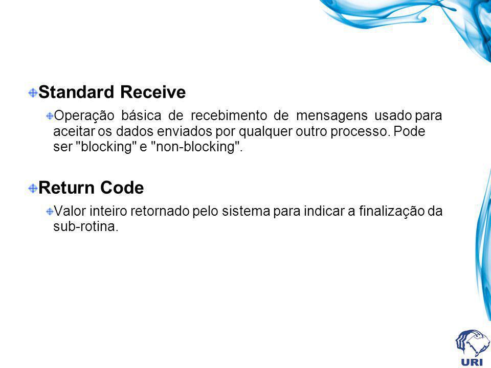 Standard Receive Operação básica de recebimento de mensagens usado para aceitar os dados enviados por qualquer outro processo. Pode ser
