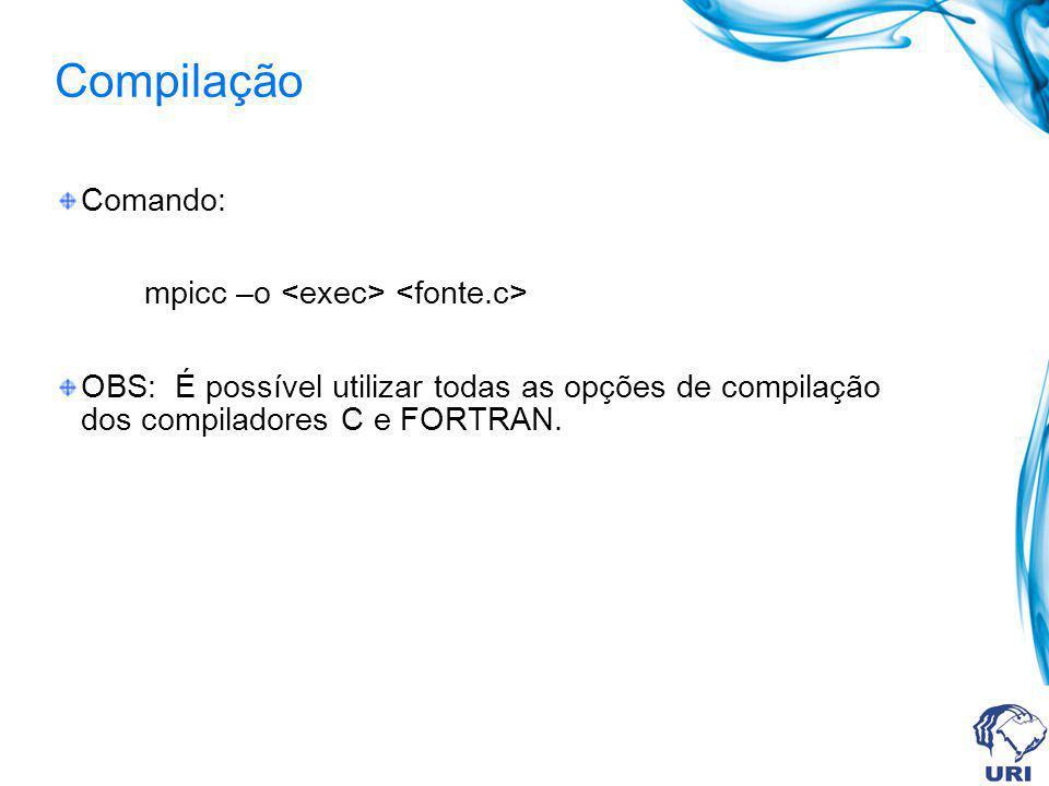 Compilação Comando: mpicc –o OBS: É possível utilizar todas as opções de compilação dos compiladores C e FORTRAN.