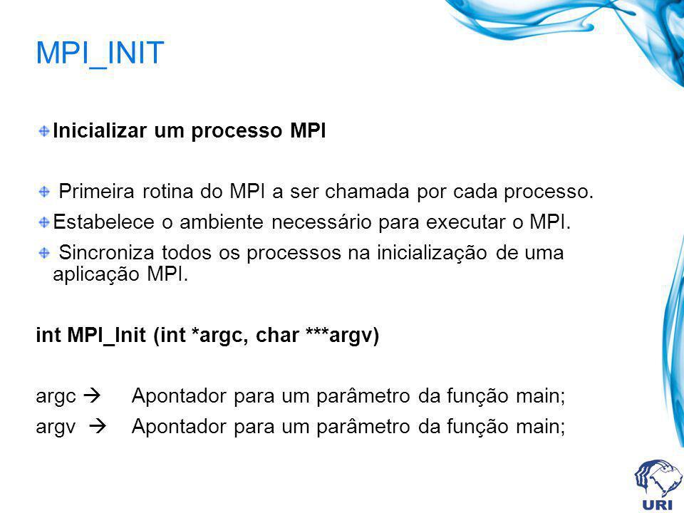 MPI_INIT Inicializar um processo MPI Primeira rotina do MPI a ser chamada por cada processo. Estabelece o ambiente necessário para executar o MPI. Sin