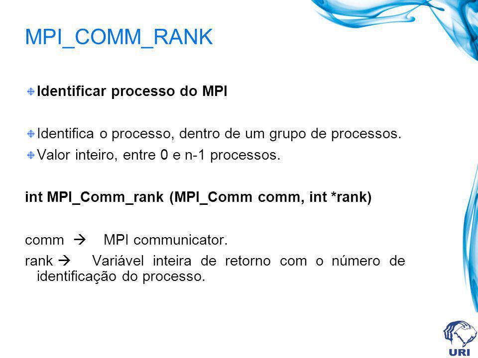 MPI_COMM_RANK Identificar processo do MPI Identifica o processo, dentro de um grupo de processos. Valor inteiro, entre 0 e n-1 processos. int MPI_Comm