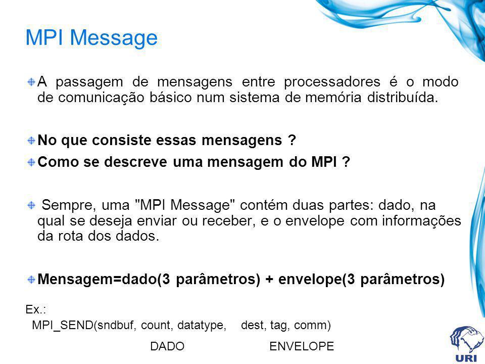 MPI Message A passagem de mensagens entre processadores é o modo de comunicação básico num sistema de memória distribuída. No que consiste essas mensa