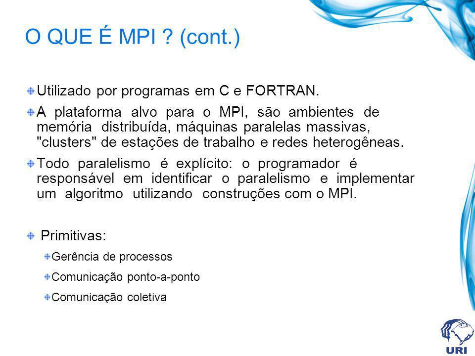 O QUE É MPI . (cont.) Utilizado por programas em C e FORTRAN.
