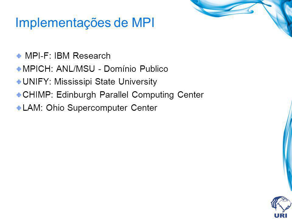 Implementações de MPI MPI-F: IBM Research MPICH: ANL/MSU - Domínio Publico UNIFY: Mississipi State University CHIMP: Edinburgh Parallel Computing Cent