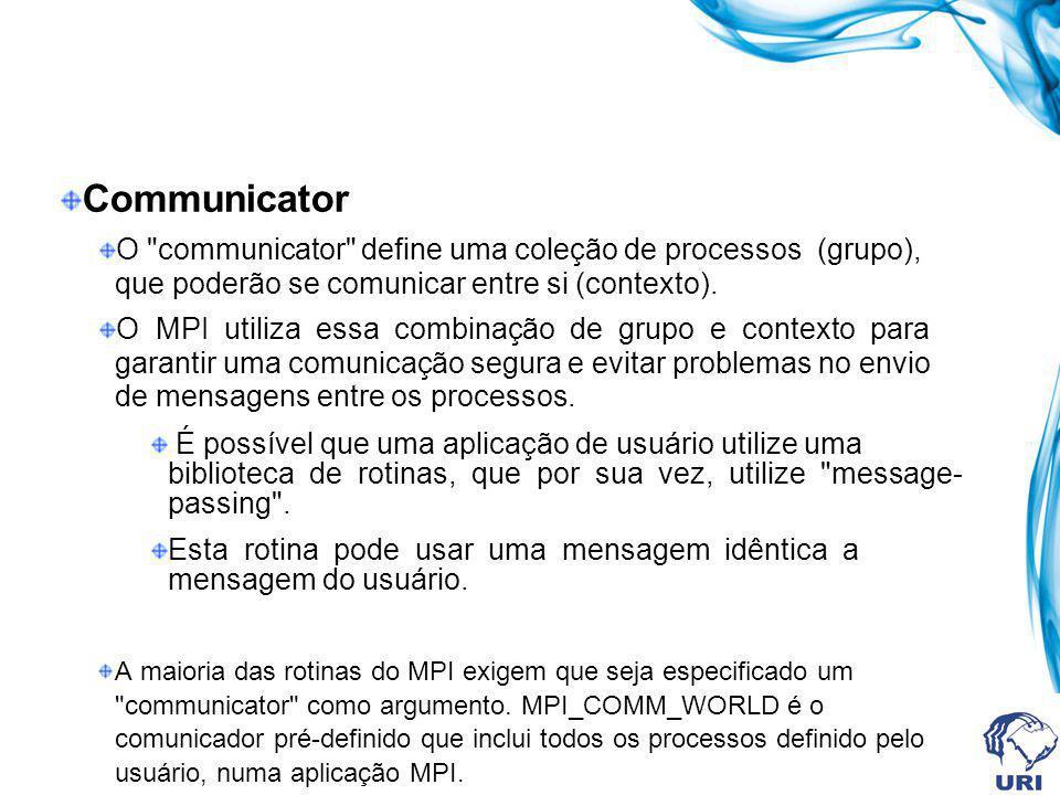 MPI Message Dado O dado é representado por três argumentos: 1- Endereço onde o dado se localiza; 2- Número de elementos do dado na mensagem; 3- Tipo do dado;