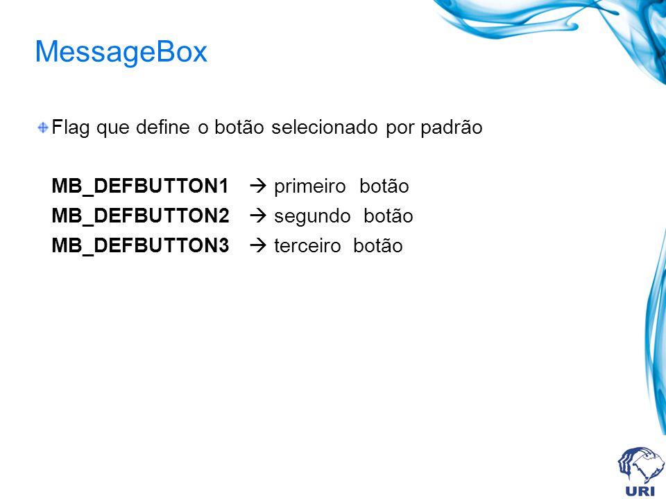 MessageBox Flag que define o botão selecionado por padrão MB_DEFBUTTON1 primeiro botão MB_DEFBUTTON2 segundo botão MB_DEFBUTTON3 terceiro botão