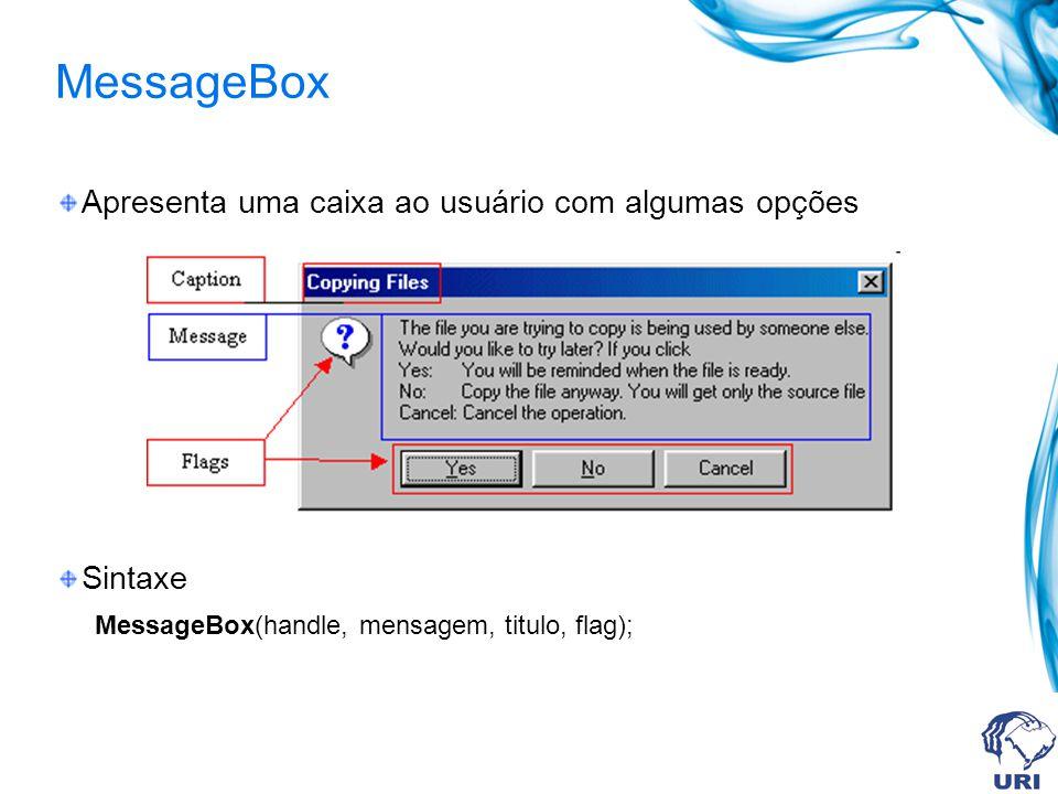 MessageBox Apresenta uma caixa ao usuário com algumas opções Sintaxe MessageBox(handle, mensagem, titulo, flag);