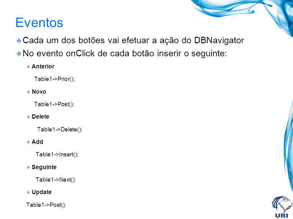 Eventos Cada um dos botões vai efetuar a ação do DBNavigator No evento onClick de cada botão inserir o seguinte: Anterior Table1->Prior(); Novo Table1->Post(); Delete Table1->Delete(); Add Table1->Insert(); Seguinte Table1->Next(); Update Table1->Post();
