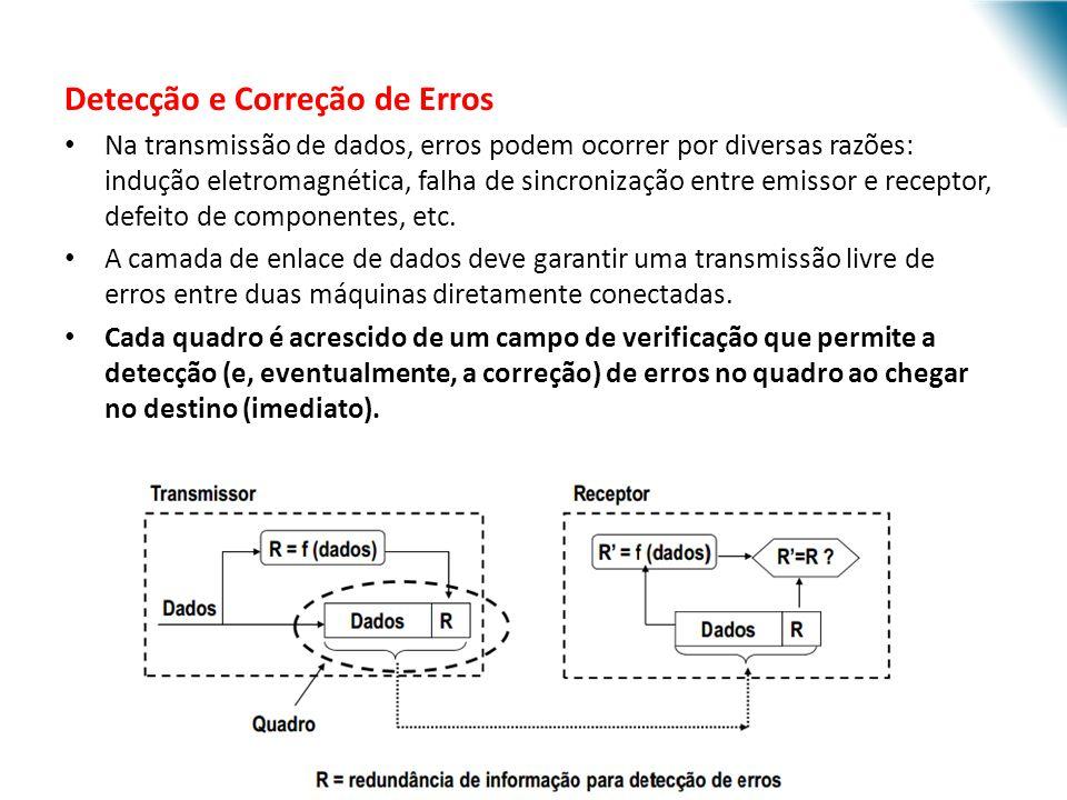 Detecção e Correção de Erros Na transmissão de dados, erros podem ocorrer por diversas razões: indução eletromagnética, falha de sincronização entre e