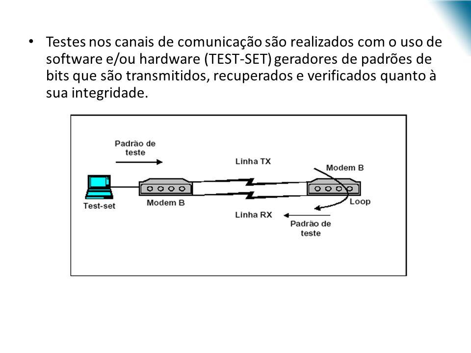 Testes nos canais de comunicação são realizados com o uso de software e/ou hardware (TEST-SET) geradores de padrões de bits que são transmitidos, recu