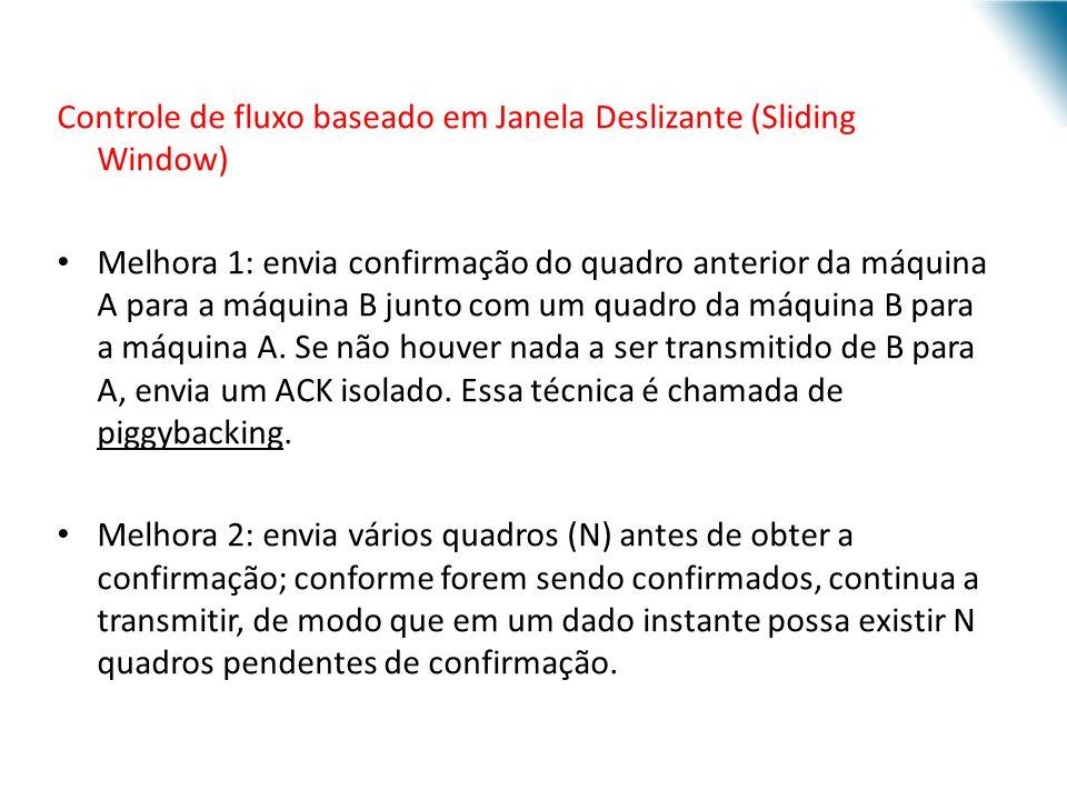 URI - DECC - Santo Ângelo Controle de fluxo baseado em Janela Deslizante (Sliding Window) Melhora 1: envia confirmação do quadro anterior da máquina A