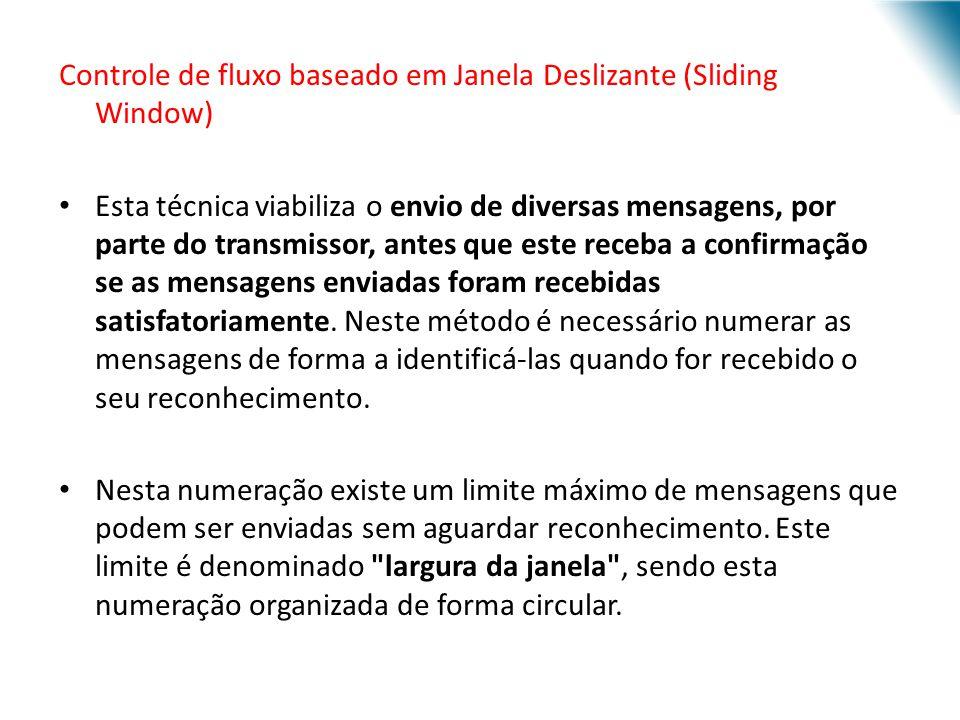 Controle de fluxo baseado em Janela Deslizante (Sliding Window) Esta técnica viabiliza o envio de diversas mensagens, por parte do transmissor, antes