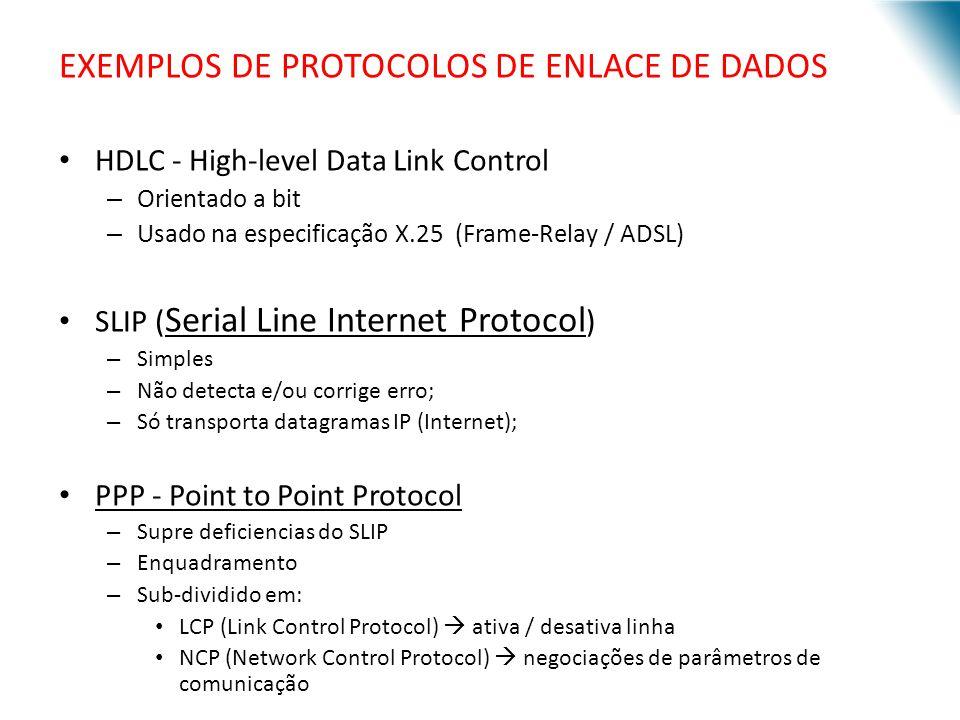 EXEMPLOS DE PROTOCOLOS DE ENLACE DE DADOS HDLC - High-level Data Link Control – Orientado a bit – Usado na especificação X.25 (Frame-Relay / ADSL) SLI