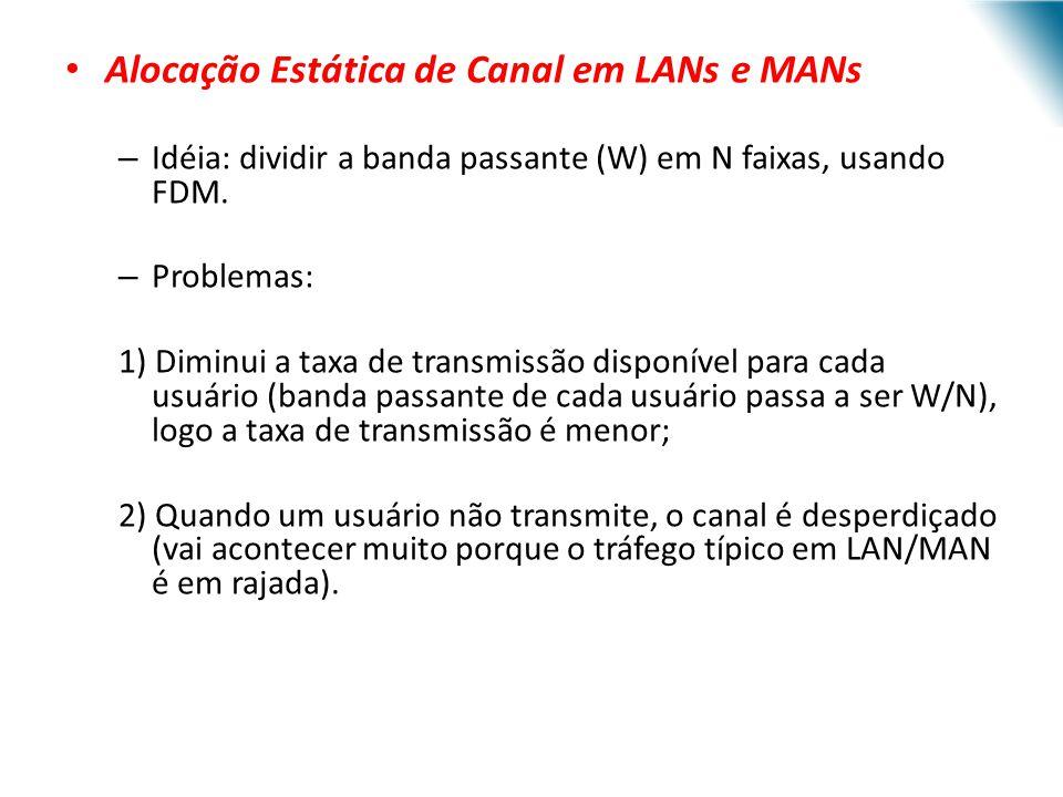 Alocação Estática de Canal em LANs e MANs – Idéia: dividir a banda passante (W) em N faixas, usando FDM. – Problemas: 1) Diminui a taxa de transmissão