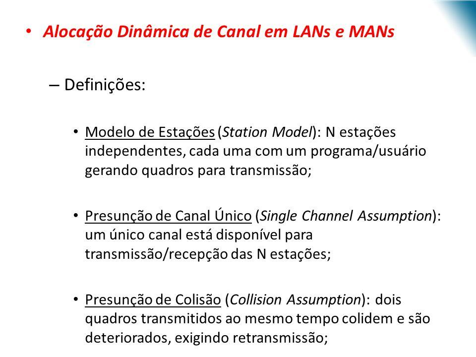 Alocação Dinâmica de Canal em LANs e MANs – Definições: Modelo de Estações (Station Model): N estações independentes, cada uma com um programa/usuário