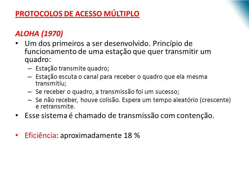 PROTOCOLOS DE ACESSO MÚLTIPLO ALOHA (1970) Um dos primeiros a ser desenvolvido. Princípio de funcionamento de uma estação que quer transmitir um quadr