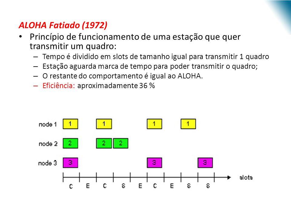 ALOHA Fatiado (1972) Princípio de funcionamento de uma estação que quer transmitir um quadro: – Tempo é dividido em slots de tamanho igual para transm
