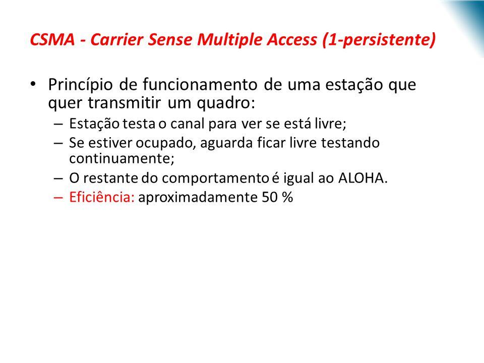 CSMA - Carrier Sense Multiple Access (1-persistente) Princípio de funcionamento de uma estação que quer transmitir um quadro: – Estação testa o canal