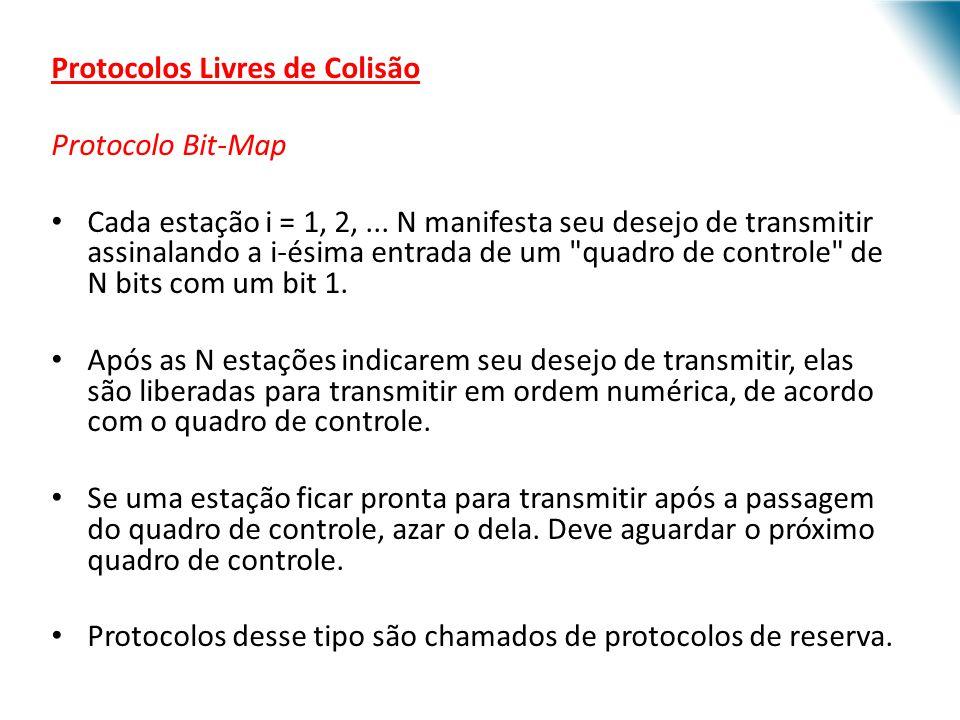 URI - DECC - Santo Ângelo Protocolos Livres de Colisão Protocolo Bit-Map Cada estação i = 1, 2,... N manifesta seu desejo de transmitir assinalando a