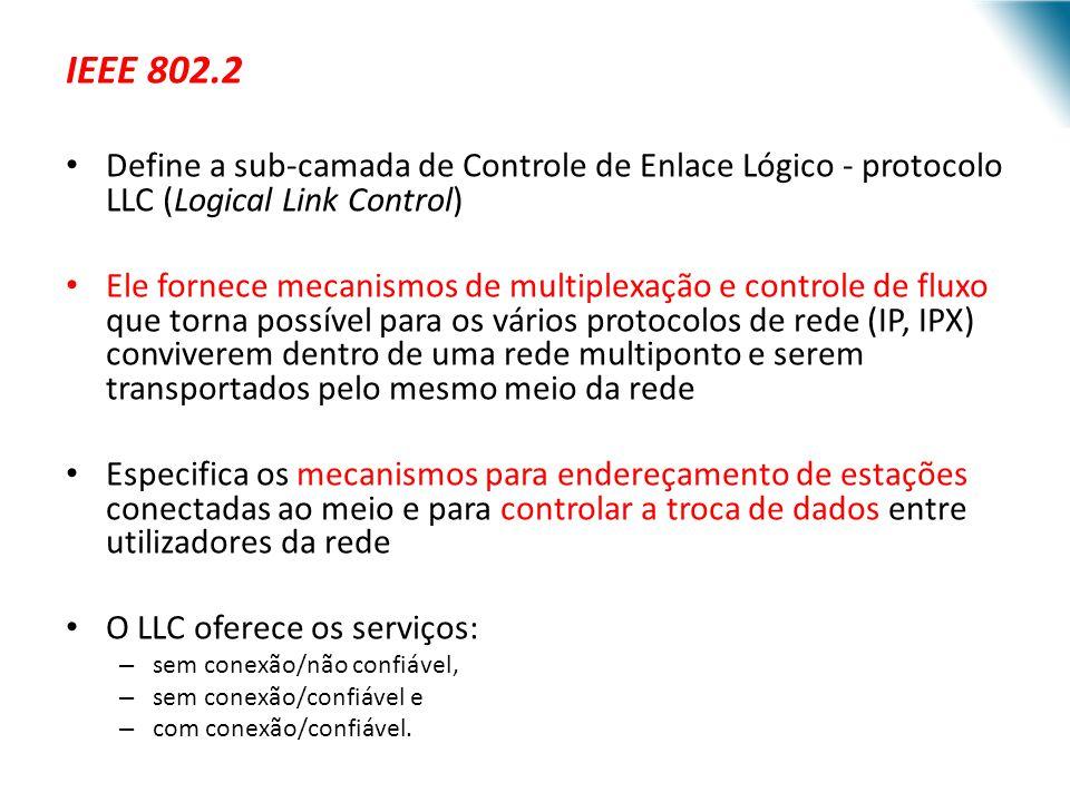 URI - DECC - Santo Ângelo IEEE 802.2 Define a sub-camada de Controle de Enlace Lógico - protocolo LLC (Logical Link Control) Ele fornece mecanismos de