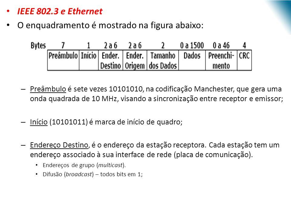 URI - DECC - Santo Ângelo IEEE 802.3 e Ethernet O enquadramento é mostrado na figura abaixo: – Preâmbulo é sete vezes 10101010, na codificação Manches