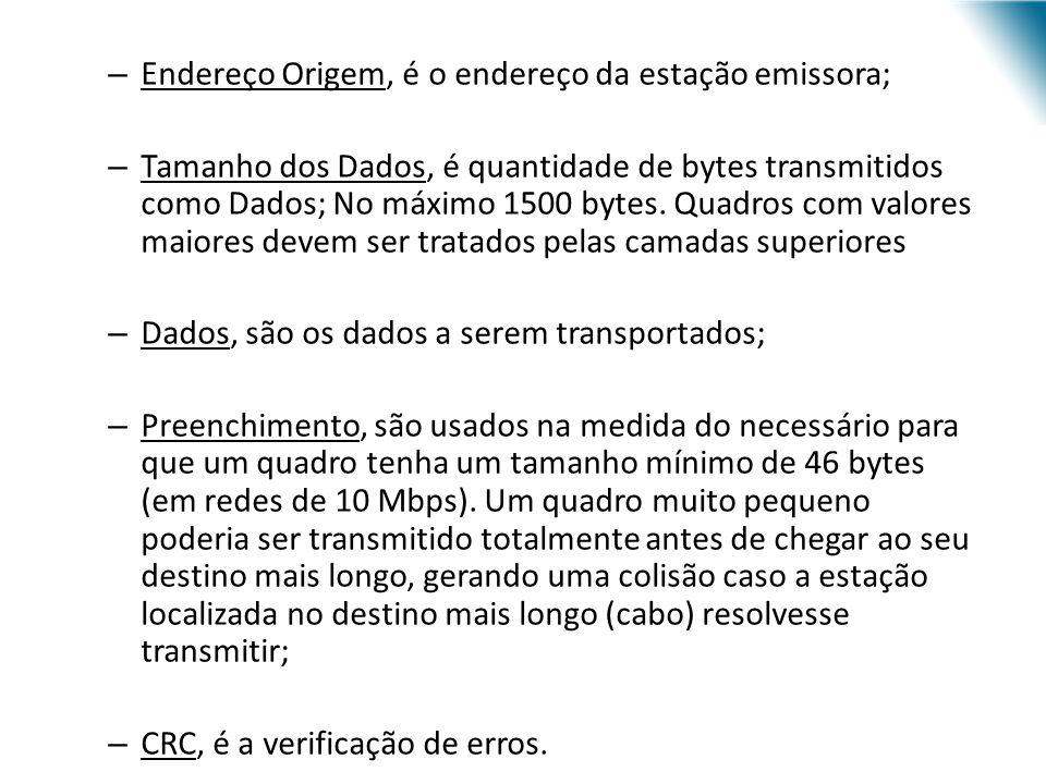 URI - DECC - Santo Ângelo – Endereço Origem, é o endereço da estação emissora; – Tamanho dos Dados, é quantidade de bytes transmitidos como Dados; No