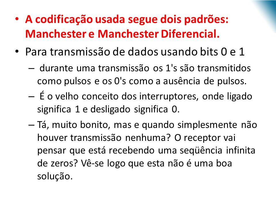 URI - DECC - Santo Ângelo A codificação usada segue dois padrões: Manchester e Manchester Diferencial. Para transmissão de dados usando bits 0 e 1 – d