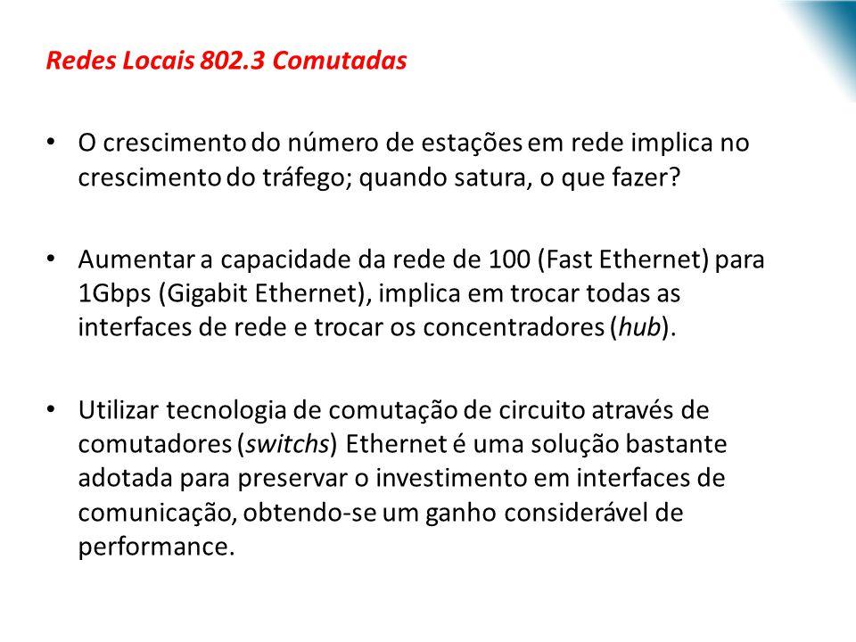 URI - DECC - Santo Ângelo Redes Locais 802.3 Comutadas O crescimento do número de estações em rede implica no crescimento do tráfego; quando satura, o