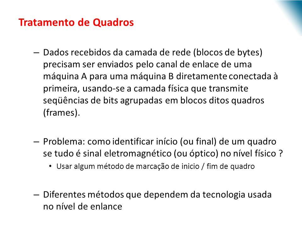 Tratamento de Quadros – Dados recebidos da camada de rede (blocos de bytes) precisam ser enviados pelo canal de enlace de uma máquina A para uma máqui