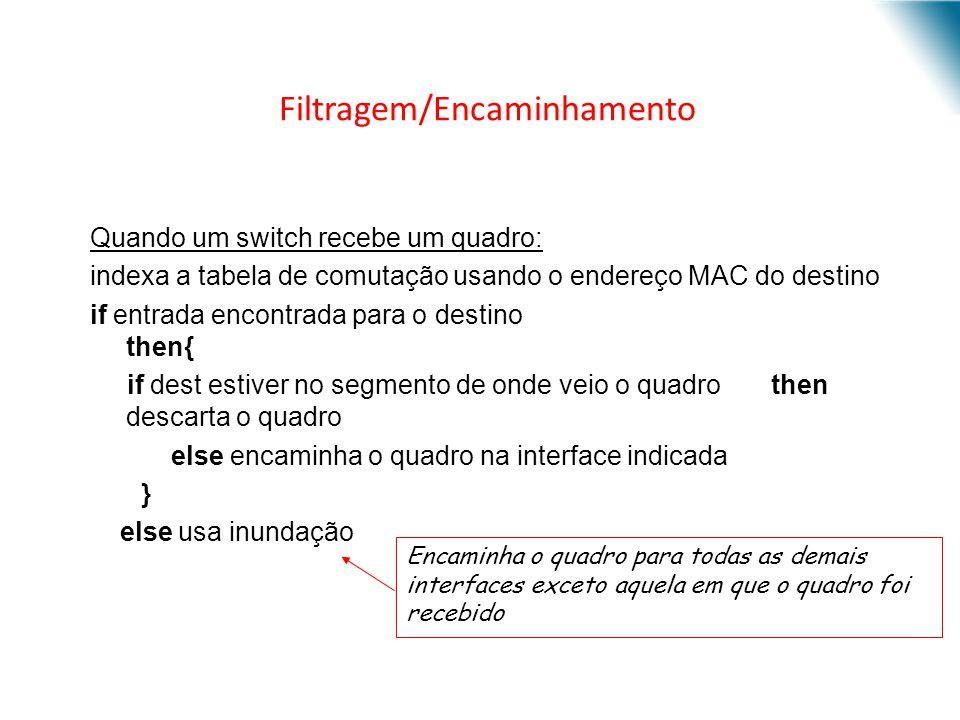 Filtragem/Encaminhamento Quando um switch recebe um quadro: indexa a tabela de comutação usando o endereço MAC do destino if entrada encontrada para o