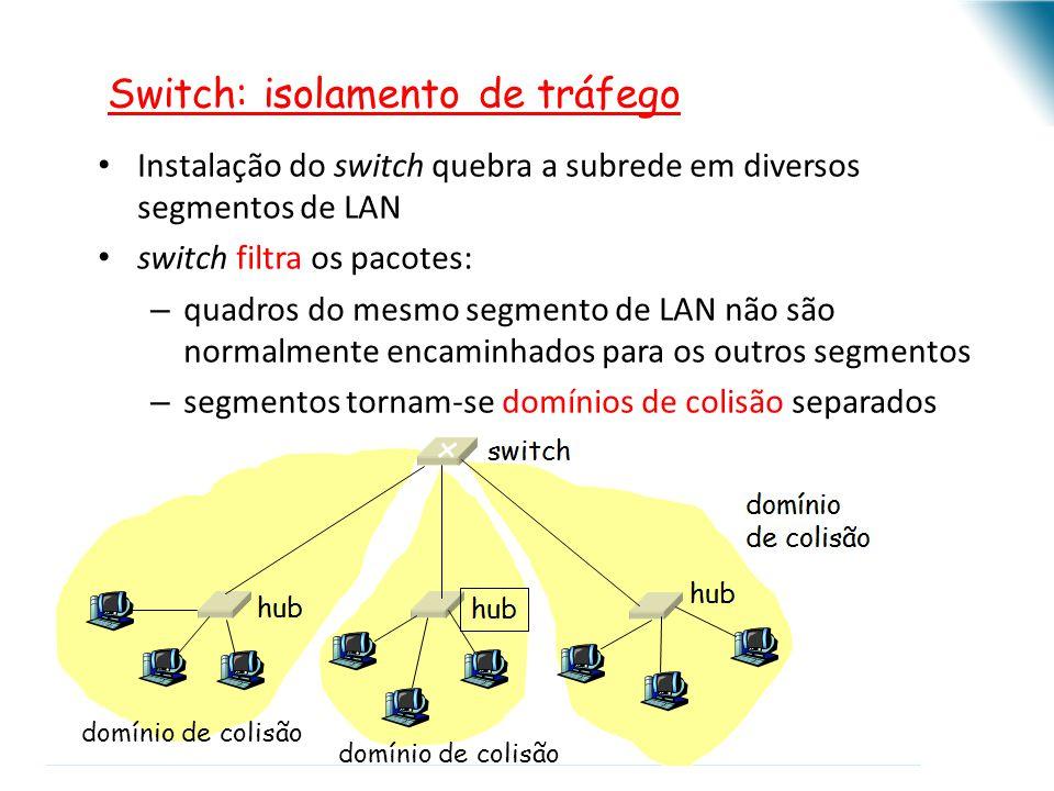 Instalação do switch quebra a subrede em diversos segmentos de LAN switch filtra os pacotes: – quadros do mesmo segmento de LAN não são normalmente en