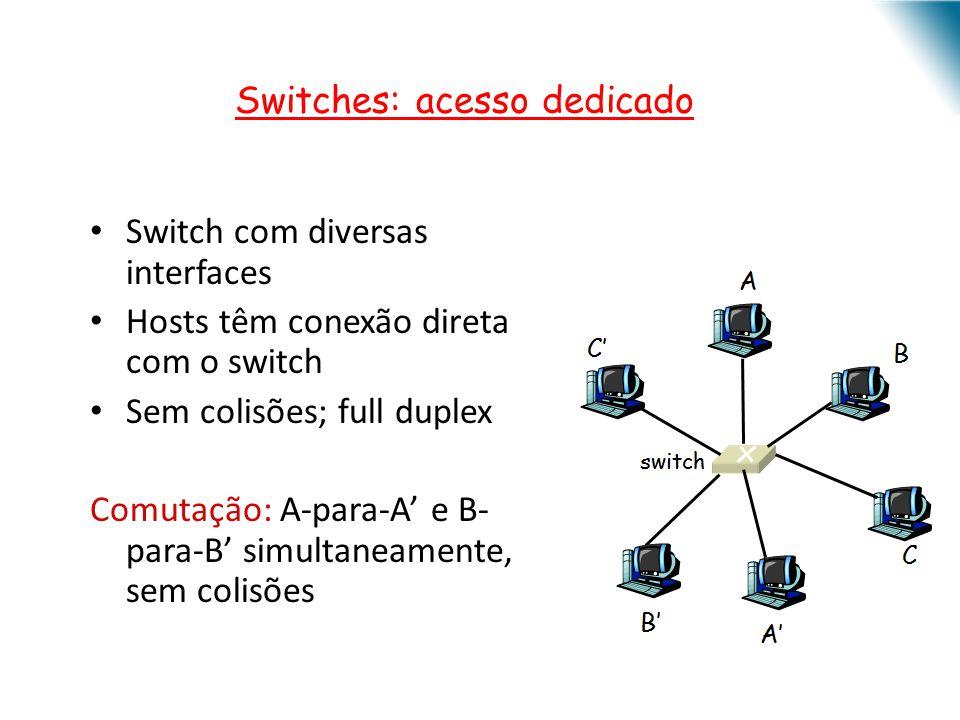 Switch com diversas interfaces Hosts têm conexão direta com o switch Sem colisões; full duplex Comutação: A-para-A e B- para-B simultaneamente, sem co