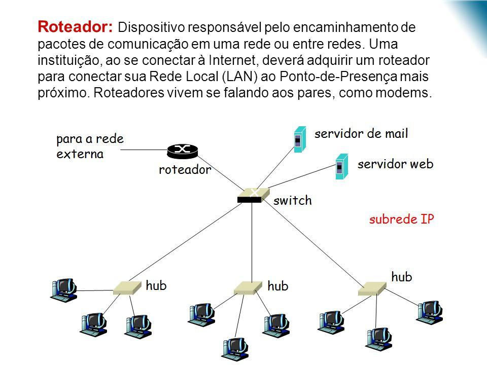 Roteador: Dispositivo responsável pelo encaminhamento de pacotes de comunicação em uma rede ou entre redes. Uma instituição, ao se conectar à Internet