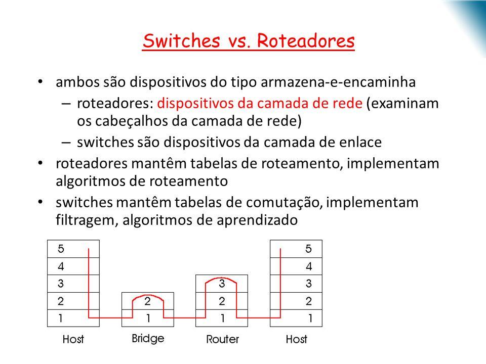 ambos são dispositivos do tipo armazena-e-encaminha – roteadores: dispositivos da camada de rede (examinam os cabeçalhos da camada de rede) – switches