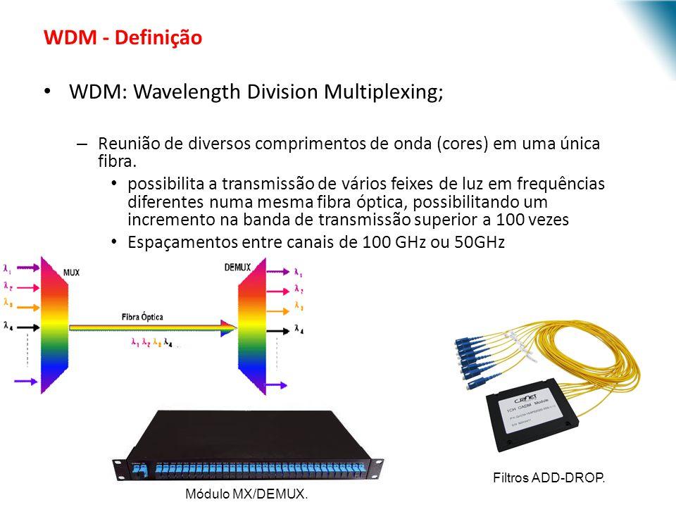 URI - DECC - Santo Ângelo WDM - Definição WDM: Wavelength Division Multiplexing; – Reunião de diversos comprimentos de onda (cores) em uma única fibra