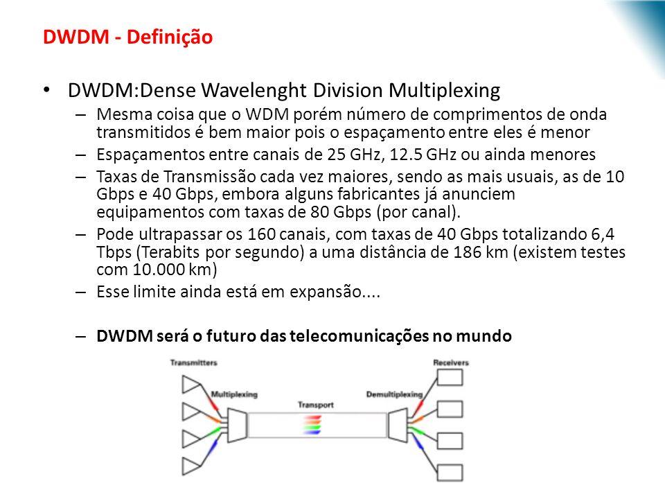 URI - DECC - Santo Ângelo DWDM - Definição DWDM:Dense Wavelenght Division Multiplexing – Mesma coisa que o WDM porém número de comprimentos de onda tr