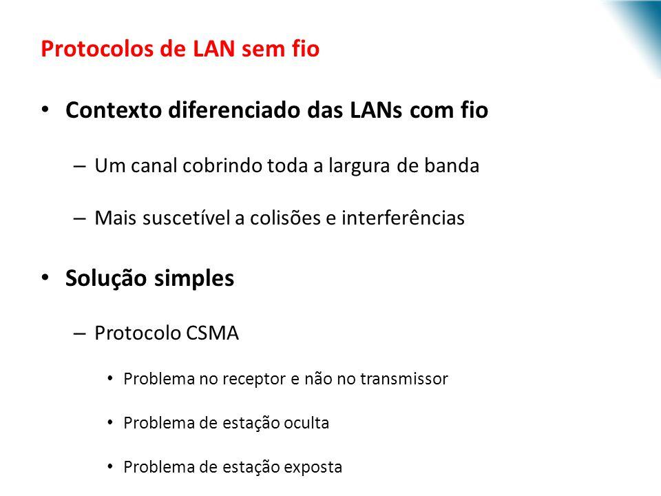 URI - DECC - Santo Ângelo Protocolos de LAN sem fio Contexto diferenciado das LANs com fio – Um canal cobrindo toda a largura de banda – Mais suscetív